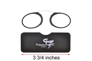 Ultra slim mini reading glasses Pince Nez unisex style Black +3.00 strength - Blue Light Blocking Eyewear