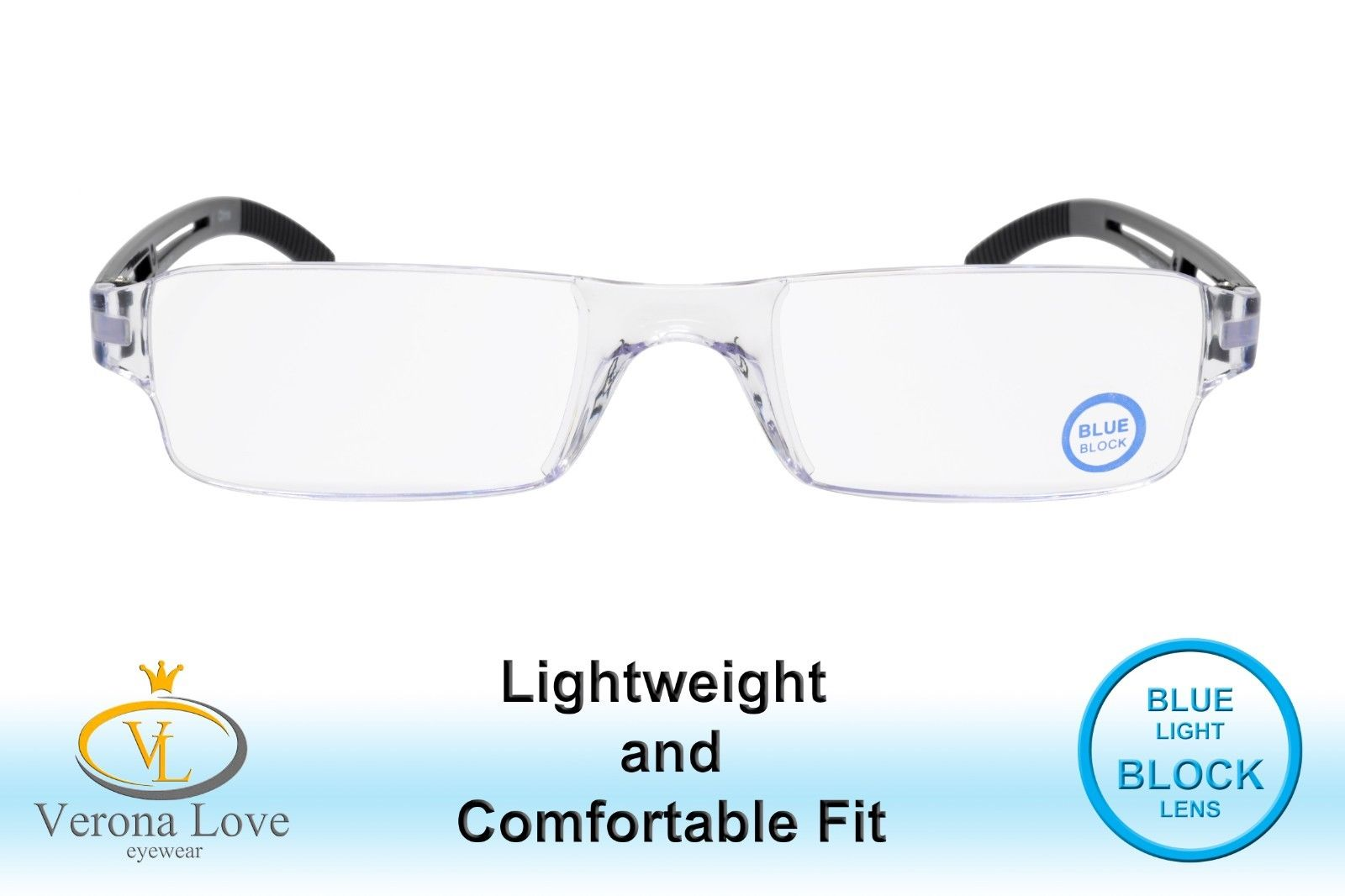 Rimless Computer Reading Glasses with Blue Light Blocking Lens +2.50 - Blue Light Blocking Eyewear