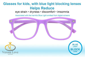 KIDDO Blue Light Blocking Lens Computer Kids Glasses 0.00 Magnification Purple - Blue Light Blocking Eyewear