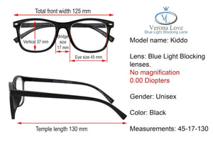 KIDDO Blue Light Blocking Lens Computer Kids Glasses 0.00 Magnification Black - Blue Light Blocking Eyewear