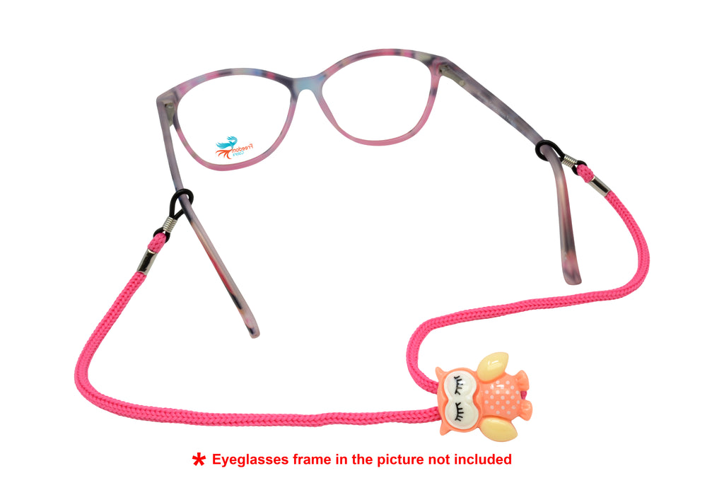 Kids Adjustable Eyeglass Retainer Funny Owl (Pink)