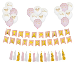 It's a Girl. Baby Shower Decorations Set, 35 Piece Gold and Pink