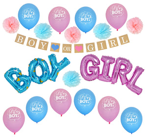 Super Deluxe 38 Piece Gender Reveal Party Supplies Set