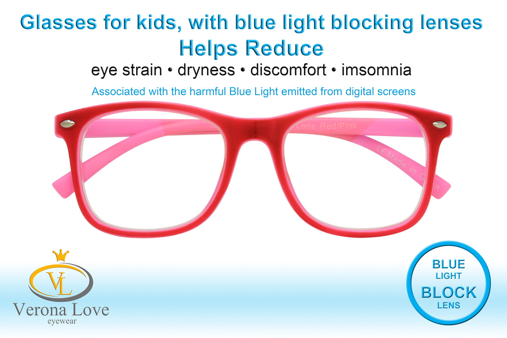 KIDDO Blue Light Blocking Lens Computer Kids Glasses 0.00 Magnification Red/Pink