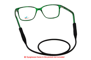 2 Pack non-slip rubber eyeglasses holder straps, unisex. Black