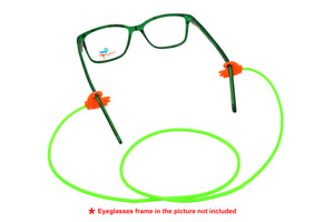 2 Pack non-slip rubber eyeglasses holder straps, unisex. Green/Orange