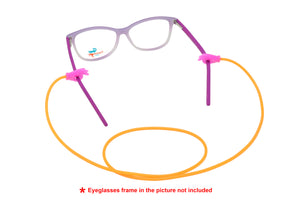2 Pack non-slip rubber eyeglasses holder straps, unisex. Orange/Fuchsia