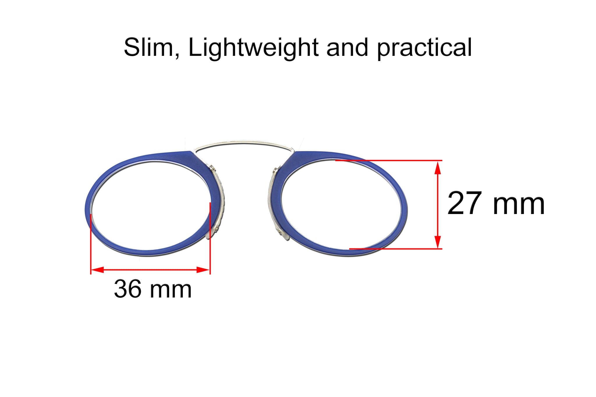 Ultra slim mini reading glasses Pince Nez unisex style Navy +3.00 strength.