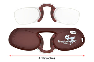 Freedom Colors Rubber Ultra Slim Reading Glasses. Brown +1.00 Strength