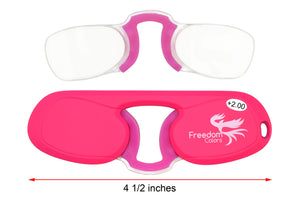 Pince Nez style Ultra Slim Reading Glasses. Pink +2.00 Strength