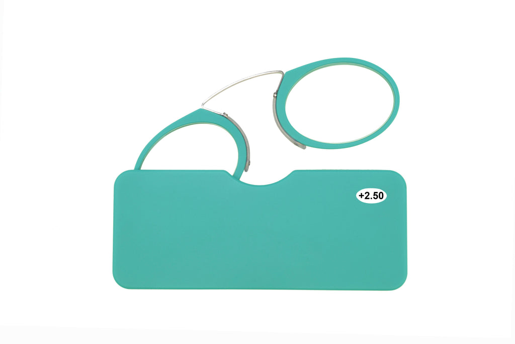 Ultra slim mini reading glasses Pince Nez unisex style Turquoise +2.50 strength.