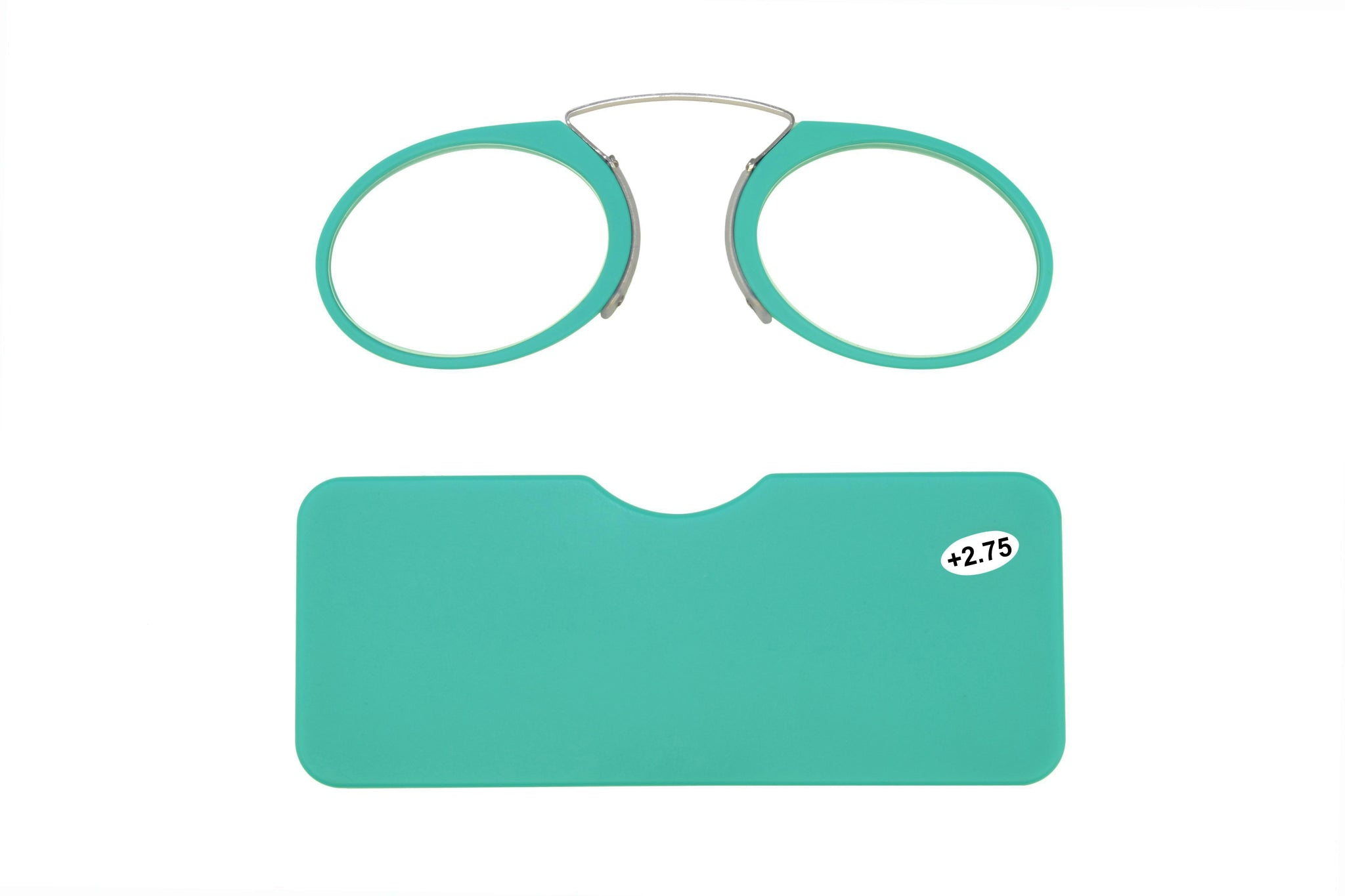 Ultra slim mini reading glasses Pince Nez unisex style Turquoise +2.75 strength.