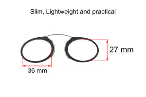 Ultra slim mini reading glasses Pince Nez unisex style +1.25 strength.