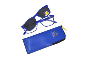BAHA. Blue, Unisex Reading glasses with polarized clip-on. +2.00 Strength
