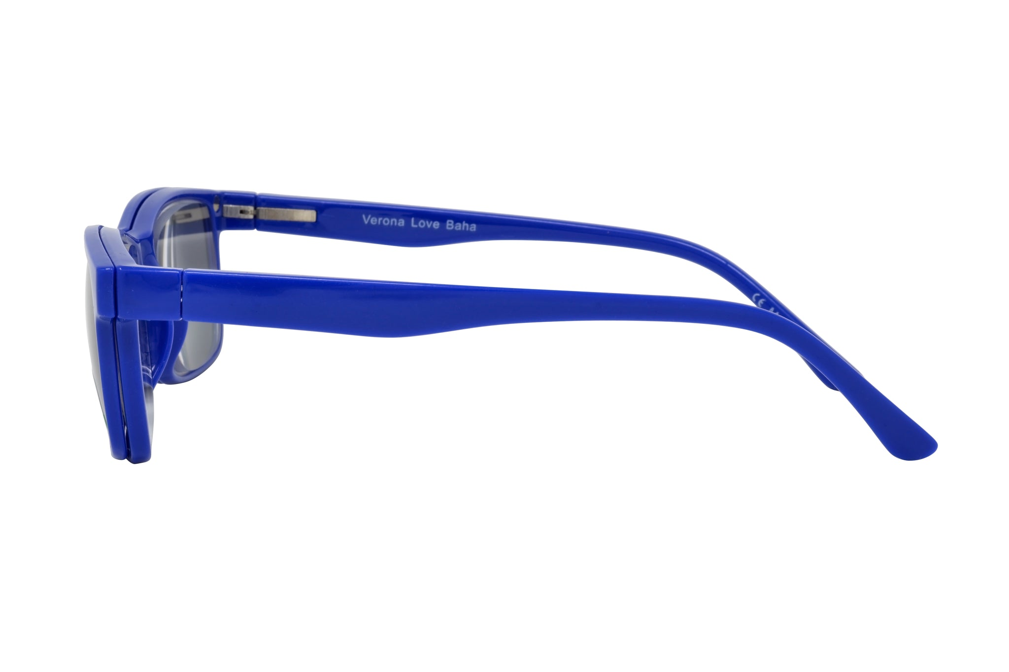 BAHA. Blue, Unisex Reading glasses with polarized clip-on. +2.50 Strength