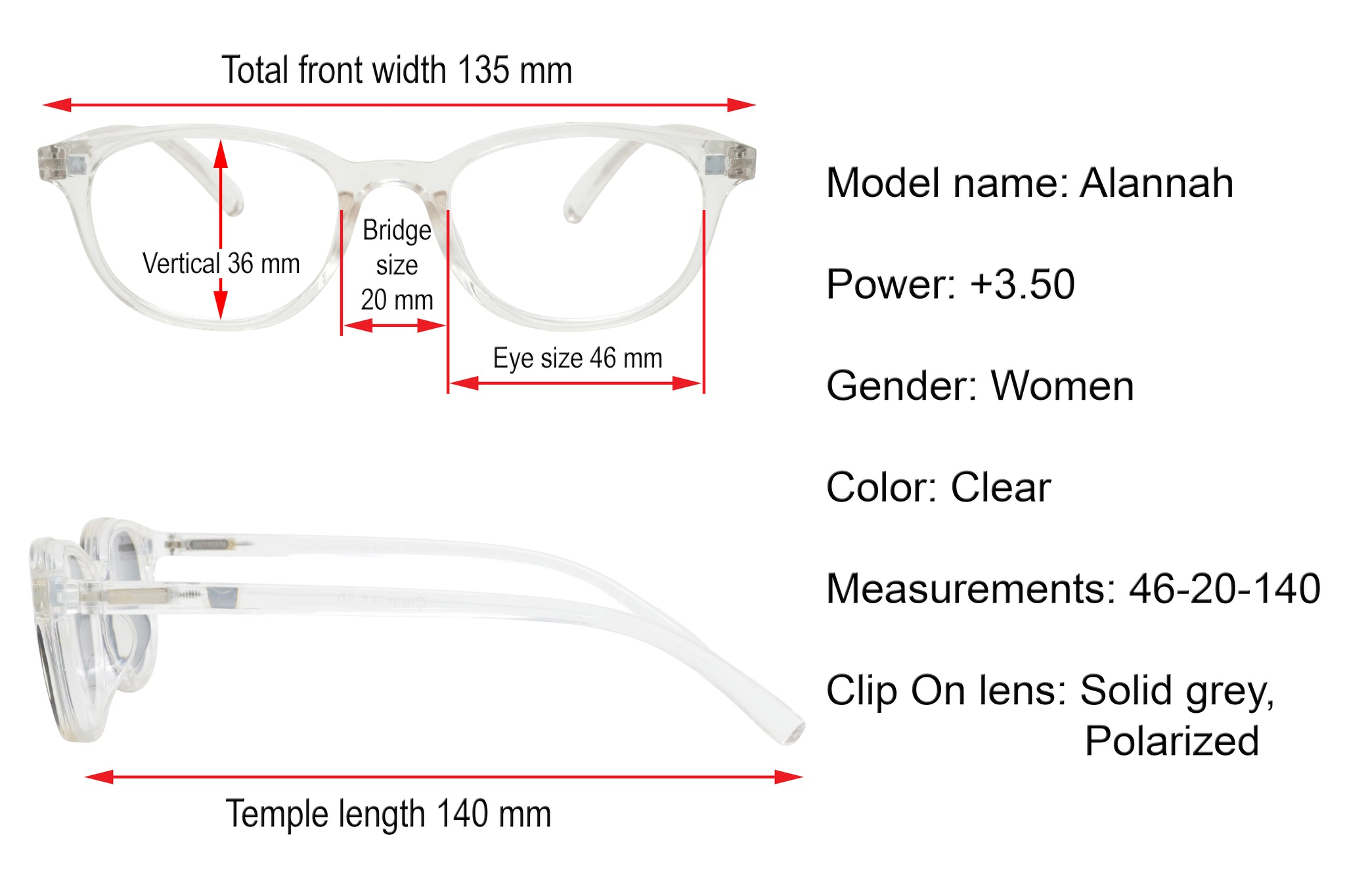 ALANNAH. Crystal. Reading glasses with polarized clip-on for women. +3.50 Strength