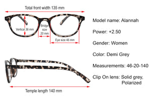 ALANNAH. Reading glasses with polarized clip-on for women. +2.50 Strength