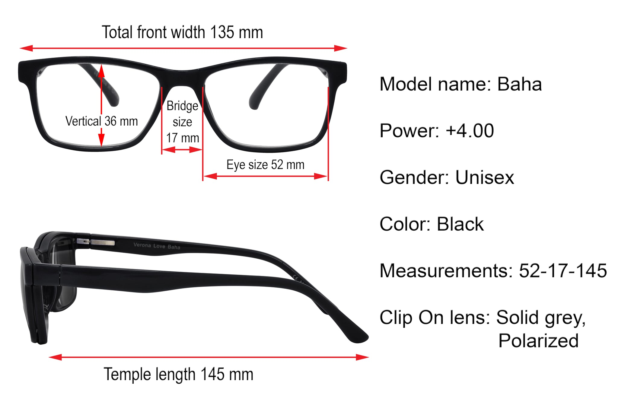 BAHA. Unisex Reading glasses with polarized clip-on. +4.00 Strength