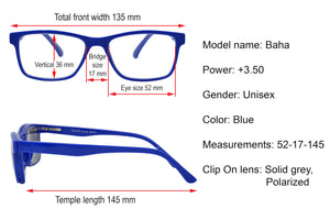 BAHA. Blue, Unisex Reading glasses with polarized clip-on. +3.50 Strength