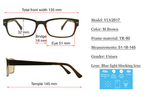 Computer Glasses VLV2017-C1 Matte Brown Cream 51-18-145 by Verona Love - Blue Light Blocking Eyewear
