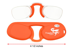 Pince Nez style Ultra Slim Reading Glasses. Orange +1.50 Strength