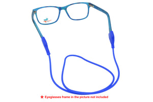 2 Pack non-slip rubber eyeglasses holder straps, unisex. Flat. Blue