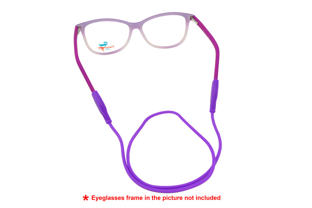2 Pack non-slip rubber eyeglasses holder straps, unisex. Flat Purple