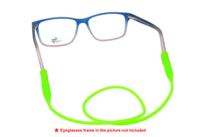 2 Pack non-slip rubber eyeglasses holder straps, unisex. Neon Green