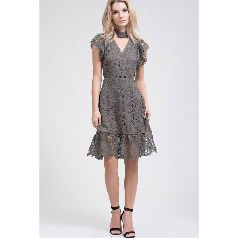 Grey Choker Lace Dress