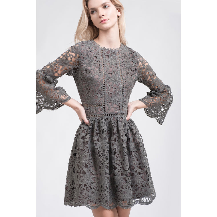 Grey Flare Sleeve Lace Dress
