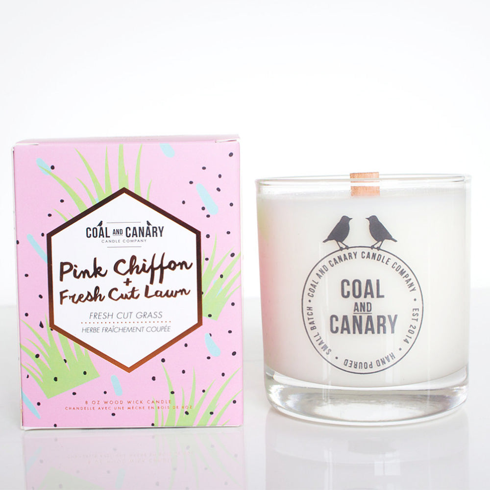 Pink Chiffon & Fresh Cut Lawn Candle