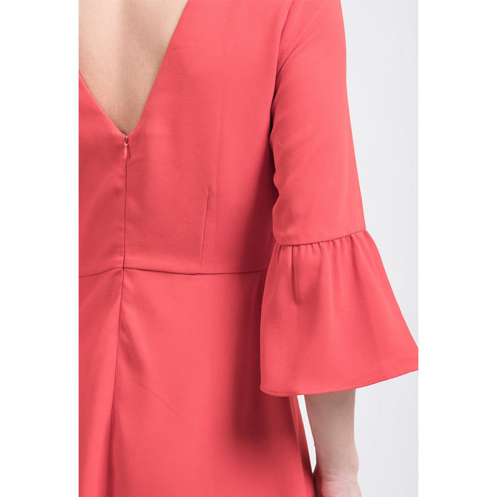 flare sleeve open back dress