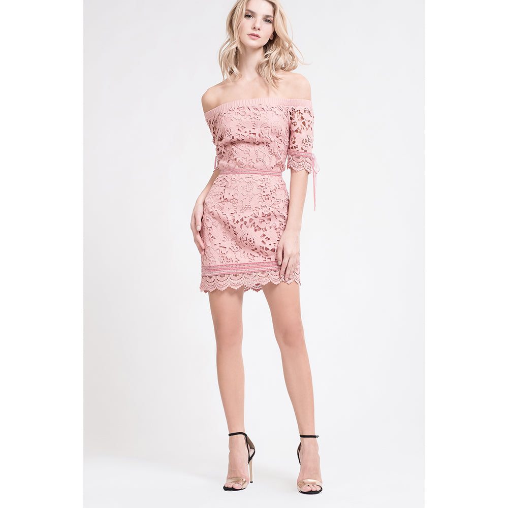 Rose Off-Shoulder Lace Dress