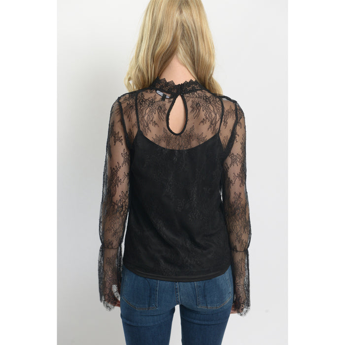 Swan High Neck Lace Top