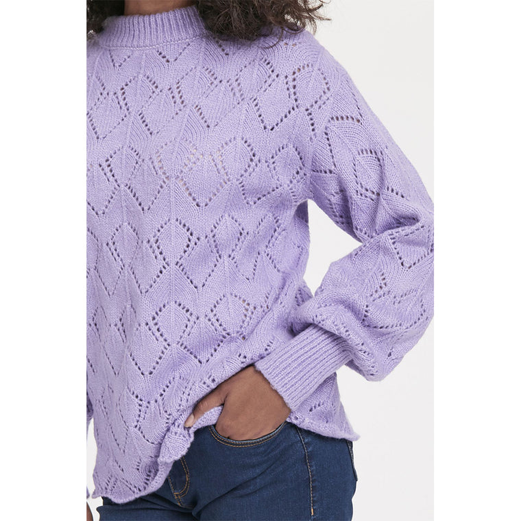Violet Tulips Knitted Pullover