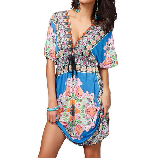 Retro Boho V-Neck Dress