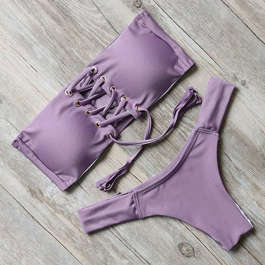 Trendy Lace-Up Bandeau Bikini