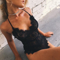 Black Lace V-Neck Bodysuit