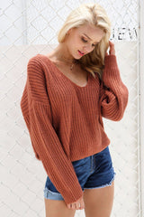 Backless Lace-up Sweater
