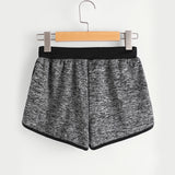 Grey Colorblock Drawstring Shorts