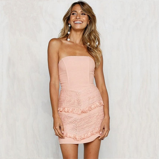 Strapless Tieback Lace Dress