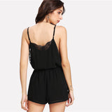 Black Lace Sleeveless Romper