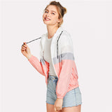 Sporty Color Block Drawstring Jacket
