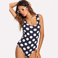 Polka Dot Scallop Trim Bodysuit