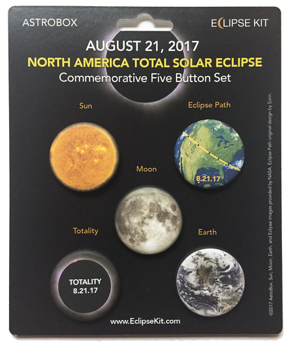 2017 Total Solar Eclipse Commemorative Five Button Set