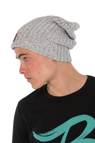 LYM Collaboration Knit Slouch Beanie / Grey Speckle