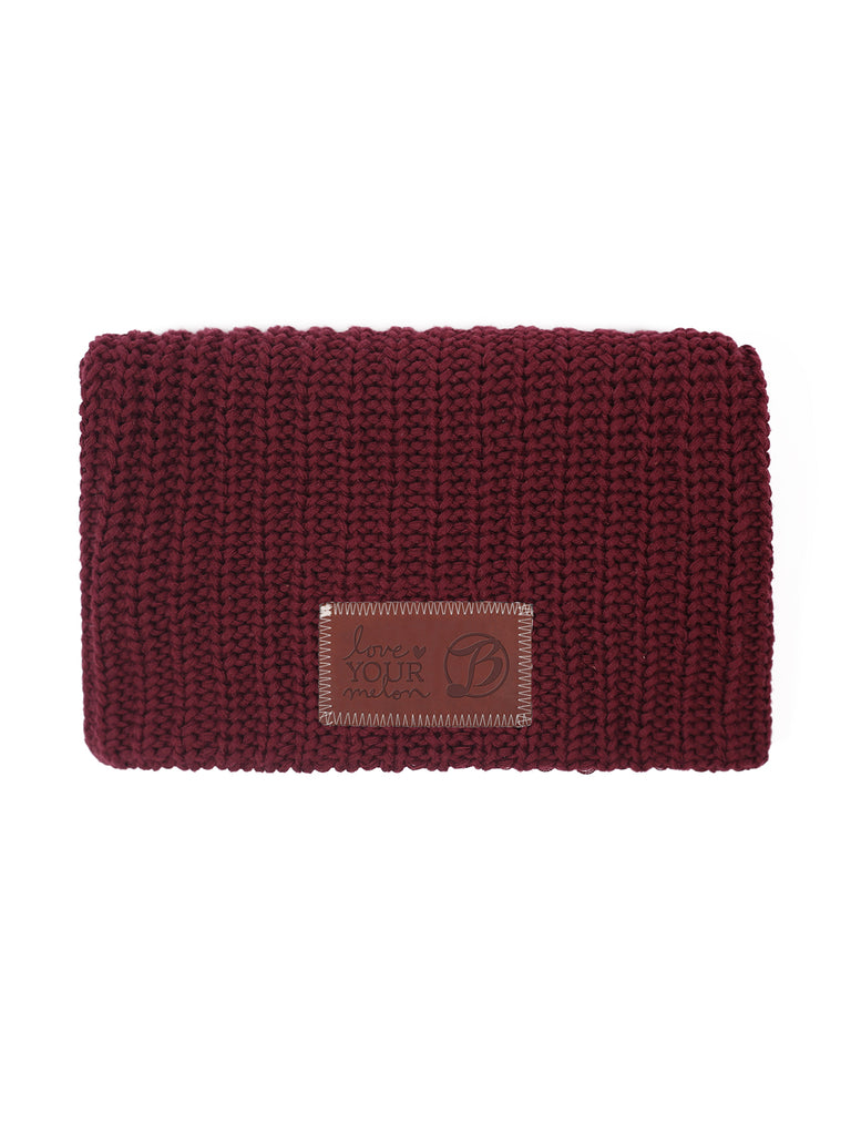 LYM Collaboration Knit Slouch Beanie   Burgundy.  40. 100% cotton yarn in  burgundy. Brown leather patch debossed with the Belly Up Collection + Love  Your ... 437f15f474cd