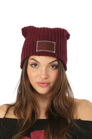 LYM Collaboration Knit Slouch Beanie / Burgundy
