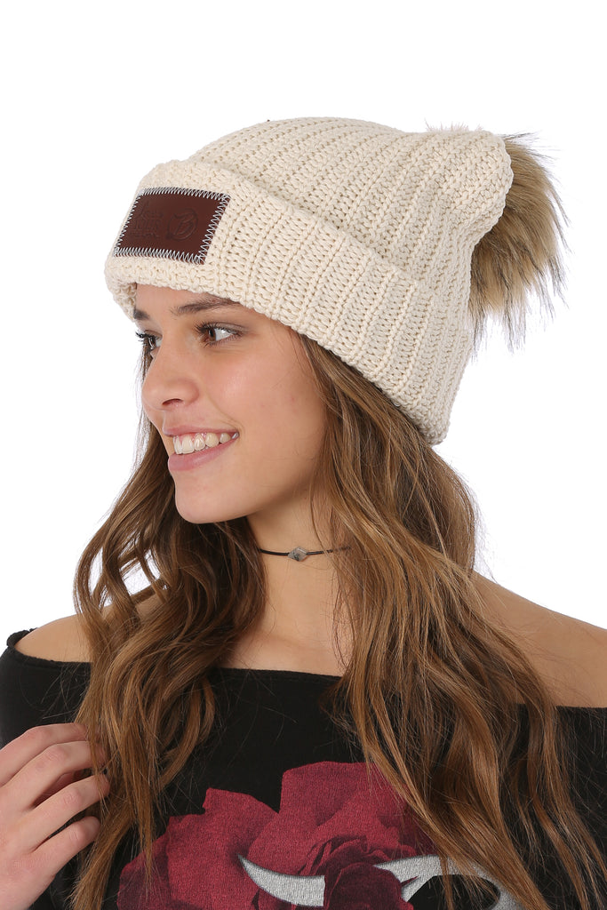 d5db191848f LYM Collaboration Knit Pom Beanie   Natural - Belly Up Collection