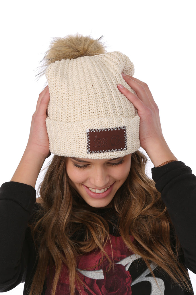14b758c4d85 LYM Collaboration Knit Pom Beanie   Natural - Belly Up Collection